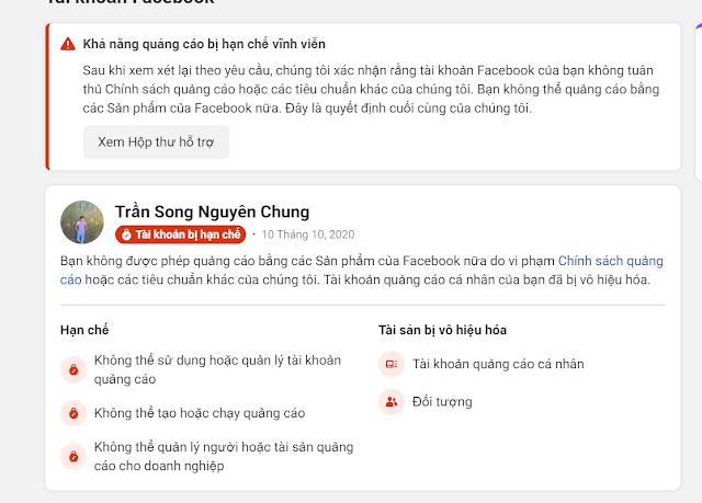 Hướng dẫn cách khắc phục bị khóa / hạn chế tài khoản quảng cáo Facebook Tháng 10/2020