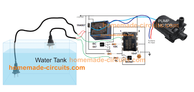 simple water level controller using IC 555