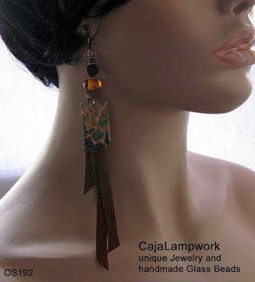 Trage Beispiel Grün braune Ohrringe