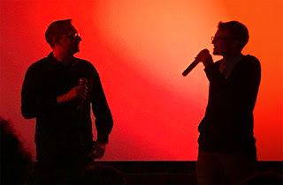 Daniel Gramsch (links) und Patrick Lohmeier im Filmrauschpalast Moabit (13.4.2018). Foto: Christian Dzubiel