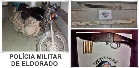 POLÍCIA MILITAR DE ELDORADO APREENDE ARMA DE FOGO E RECUPERA DUAS MOTOCICLETAS FURTADAS