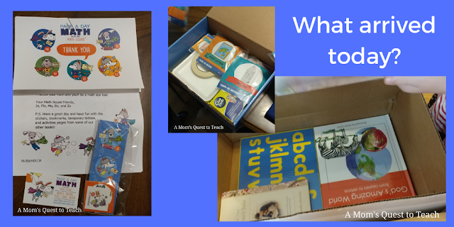 Page A Day Math materials; Sonlight materials; My Father's World Boxed materials
