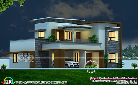 Flat roof house with floor plan by Excellent Builders and Constructions