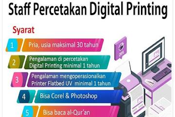 Lowongan Kerja Staff Percetakan Digital Printing