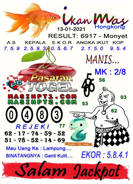 Syair Ikan Mas HK Rabu 13 Januari 2021