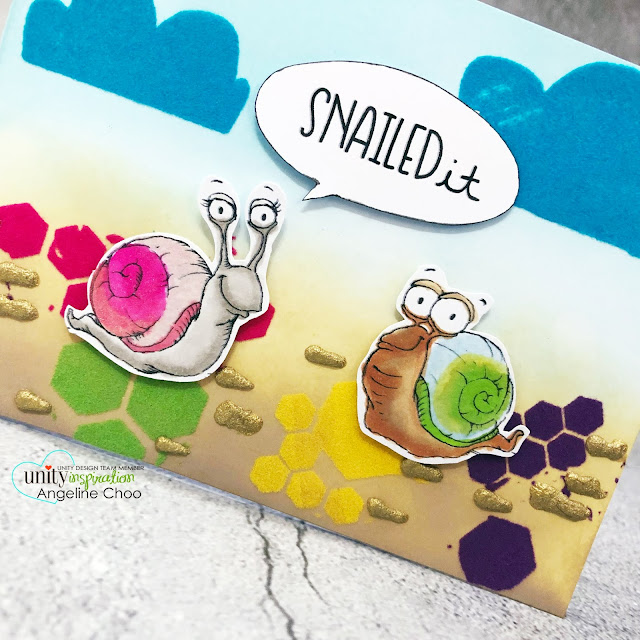 ScrappyScrappy: Unity Stamp August Cuties - Snailed It #scrappyscrappy #unitystampco #card #cardmaking #stamp #papercraft #youtube #quicktipvideo #lisaglanz #decofoil #flocktransfersheet #tcwstencil #stencil #decofoiltransfergel #snailedit #snails #timholtz #distressoxideinks #tonicstudios #nuvostonedrops