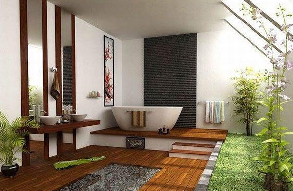 Contoh pemilihan warna cat rumah minimalis untuk desain kamar mandi alami