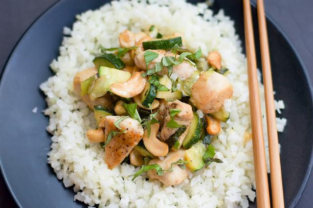 Thai Cashew and Zucchini Stir Fry over the cauliflower rice.