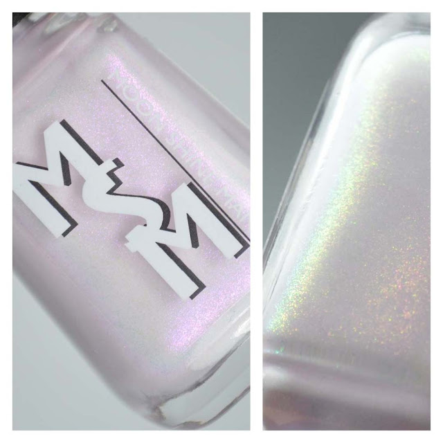 pale purple nail polish with color shifting shimmer in a bottle