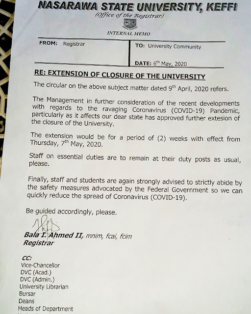 COVID-19: NSUK Extends Closure of University by 2 Weeks [UPDATED]