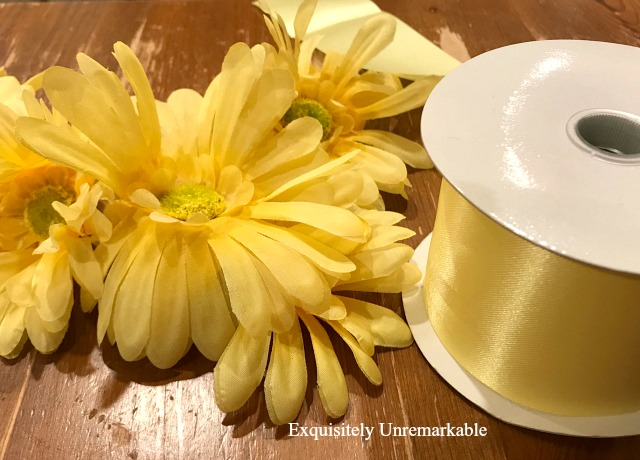 Yellow Dollar Store Flowers and Ribbon