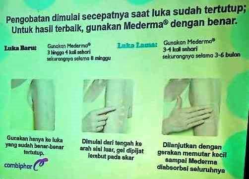 Tata cara penggunaan MEDERMA untuk pengobatan luka yang sudah menutup