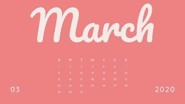 Calendario rosa de marzo 2020