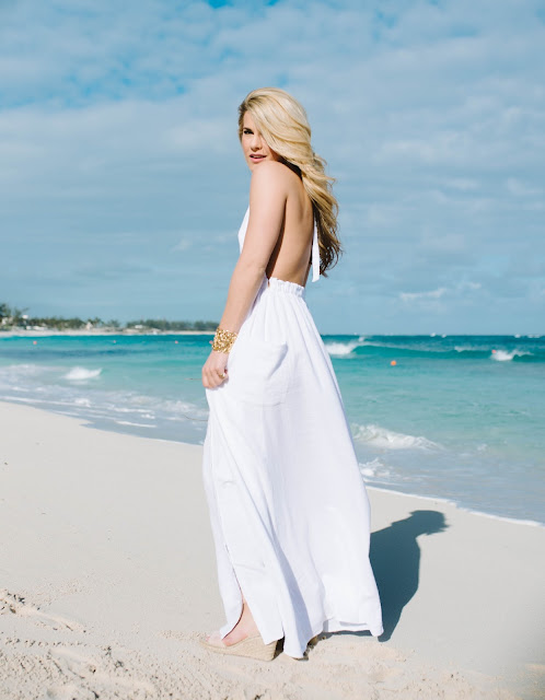 women's white backless maxi dress