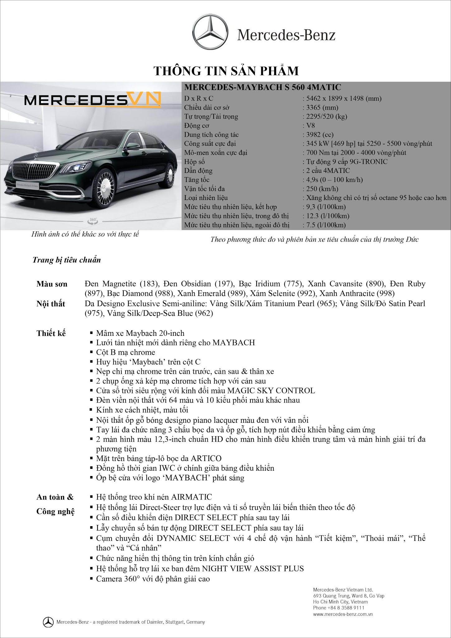 Bảng thông số kỹ thuật Mercedes Maybach S560 4MATIC 2021