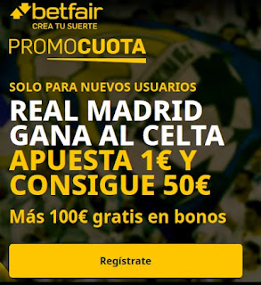 betfair promocuota Real Madrid gana Celta 20 marzo 2021
