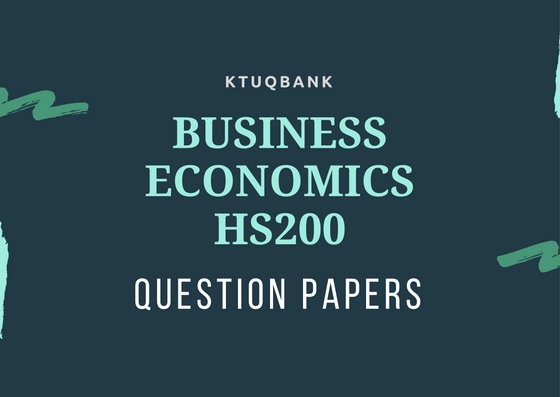 Business Economics | HS200 | Question Papers (2015 batch)