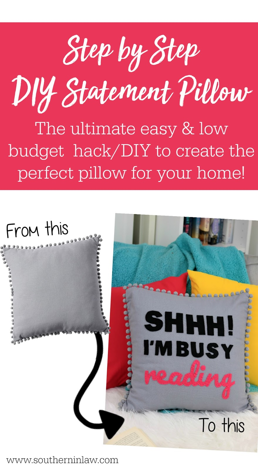 Easy DIY Statement Pillow Hack Tutorial - Low Budget Craft DIY Projects for Your Home and Home Decor