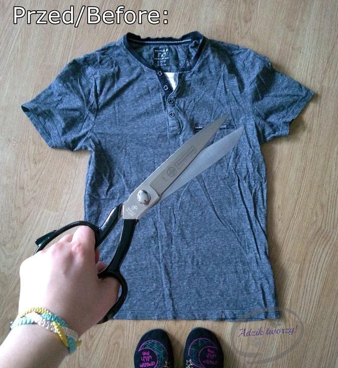top wiązany na szyi DIY przeróbka męskiego t-shirtu - Adzik tworzy