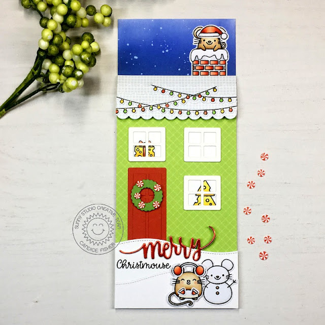 Sunny Studio Stamps: Sweet Treat Box Santa Claus Lane Merry Mice Scenic Route Woodland Borders Holiday Themed Card by Candice Fisher
