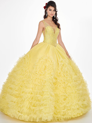 New v-neck Ball Gown Mary's Quinceanera Design Yellow Color Dress: