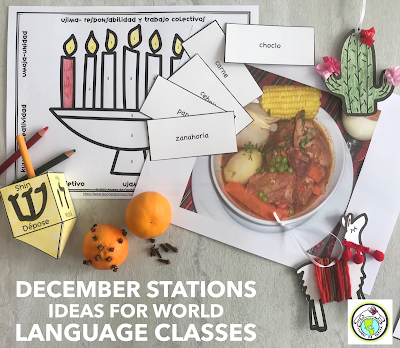 December Stations Activities for World Language Classes Spanish French Russian
