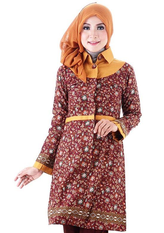 15 model baju batik kantor kombinasi untuk wanita berjilbab