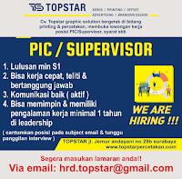 Lowongan Kerja Surabaya di CV. Topstar Graphic Solution Juli 2020