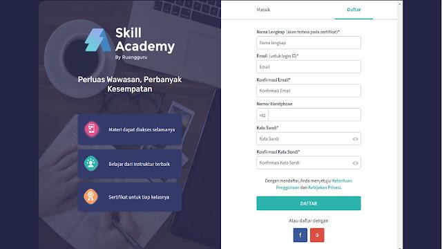 form isian akun skill academy