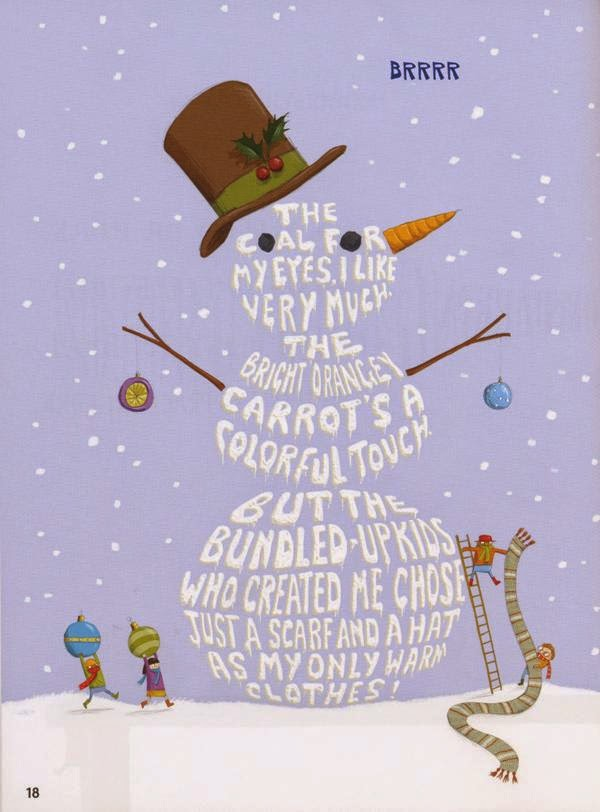 Shape poetry of a snowman with tophat