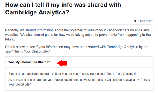 how can i tell if my info was shared with cambridge analytica