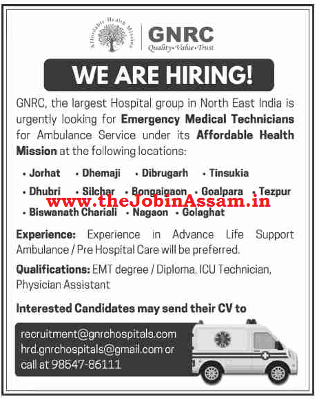 GNRC Hospitals Recruitment 2020: Apply for EMT Posts