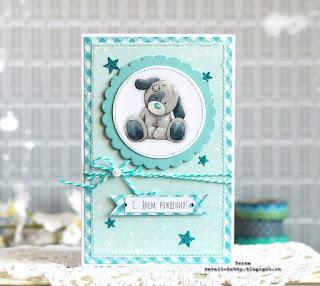 открытка своими руками, скрапбукинг, кардмейкинг, тедди, ребенок, голубой