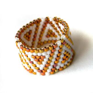 купить украшения из бисера, широкое кольцо, peyote ring beadwork