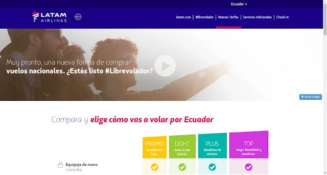 LATAM Airlines lanza nuevas tarifas para vuelos domésticos en Ecuador