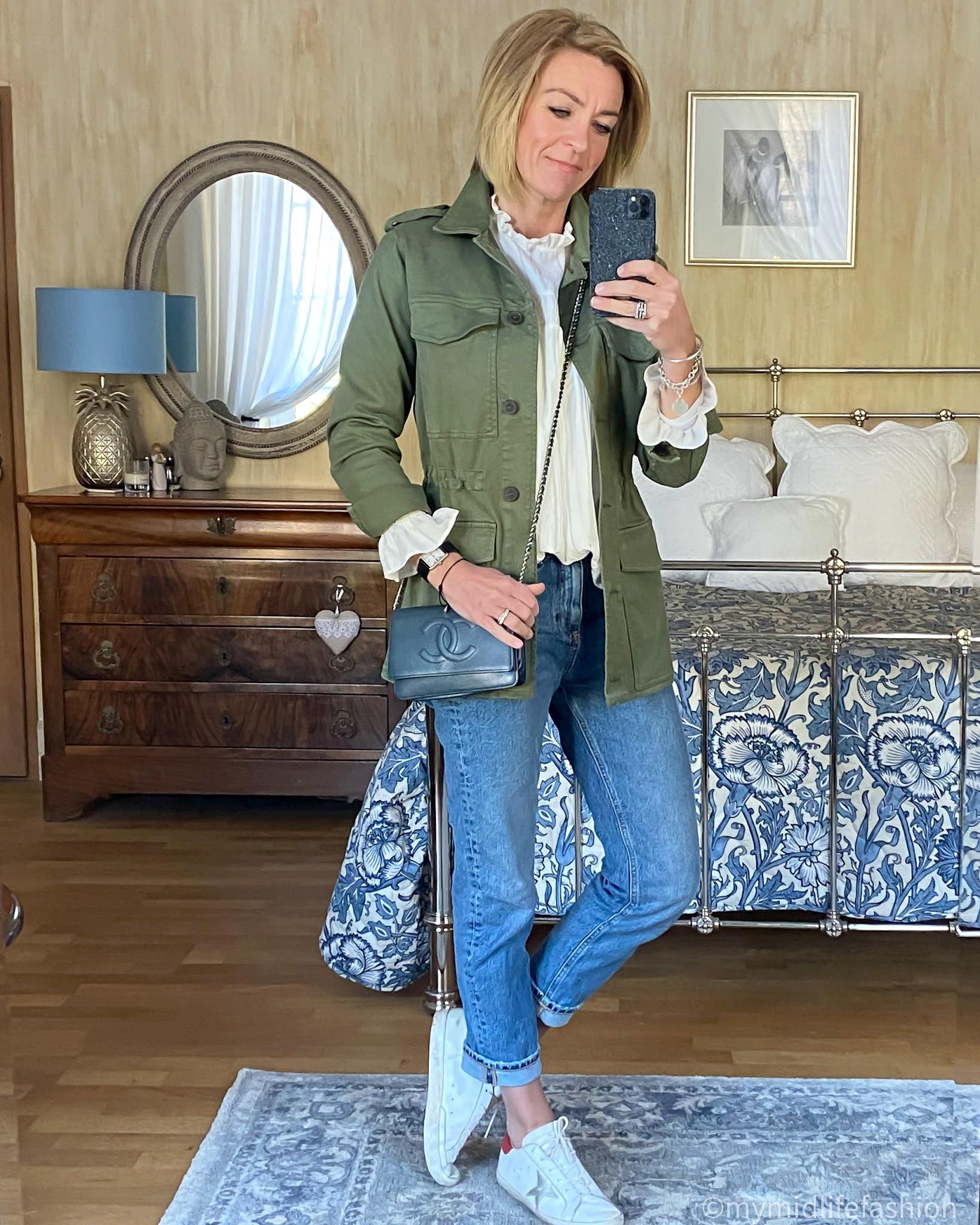 my midlife fashion, baukjen drake organic utility jacket, zara frill detail blouse, Chanel wallet on chain, zara straight leg jeans, golden goose superstar low top leather trainers