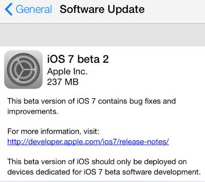 iOS 7 beta 2 download Update
