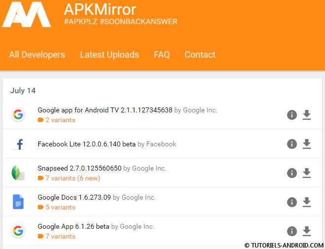 Captures d'écran : APKmirror