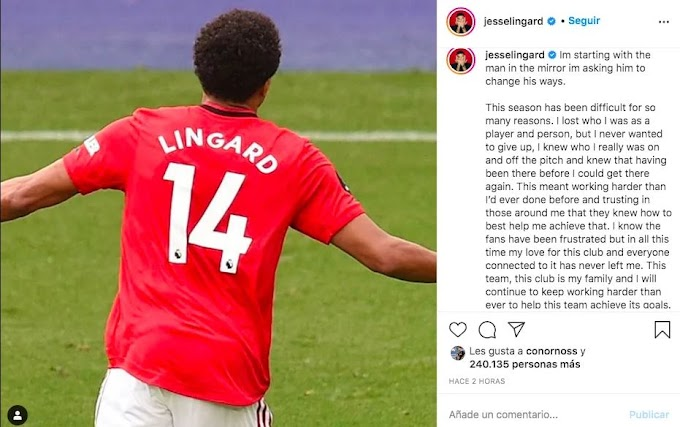 Lingard sends emotional message to Manchester United and fans