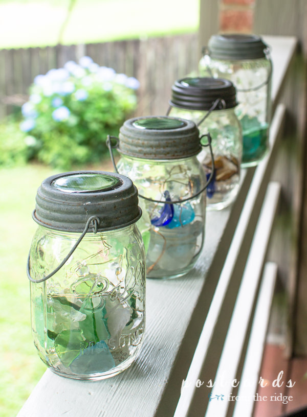 solar powered mason jar lanterns with sea glass