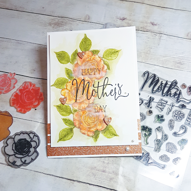 Polkadoodles Spring Rose transitional layering stamps by Lou Sims