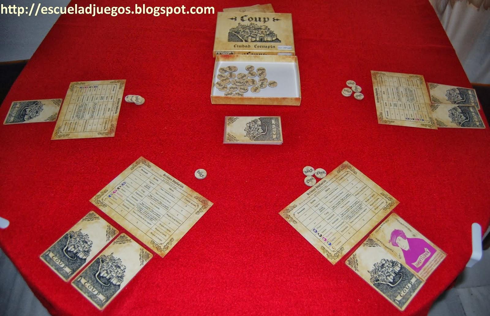 Reseña de Coup: Ciudad corrupta, juego de faroleo para entre 2 y 6 jugadores editado en español por Zacatrus