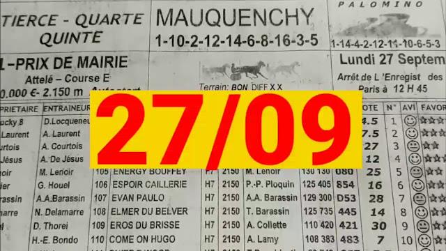 programme quinté+ Pronostic quinté Lundi 27/09/2021