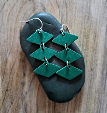 Sterling silver and leather handmade dangling earrings of 3 connected diamond shapes