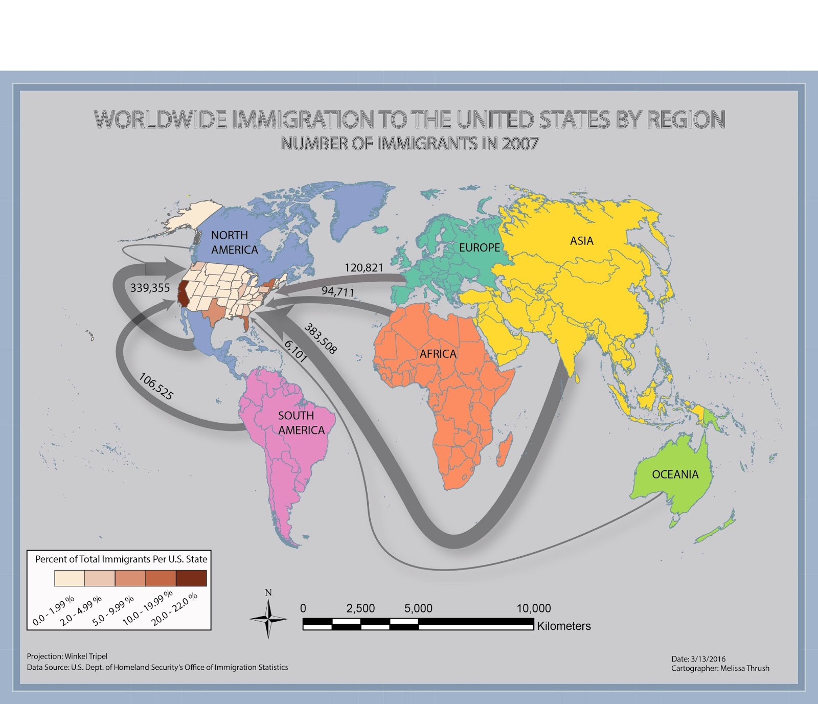 worldwide immigration to the united states by region in 2007