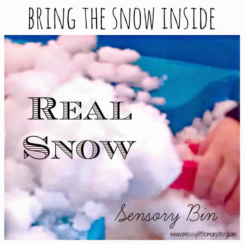 Real snow sensory bin snow activity for kids