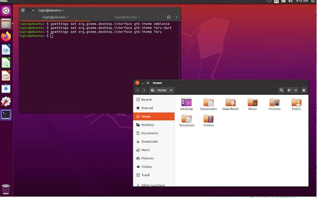 Unity yaru theme on Ubuntu 20.04