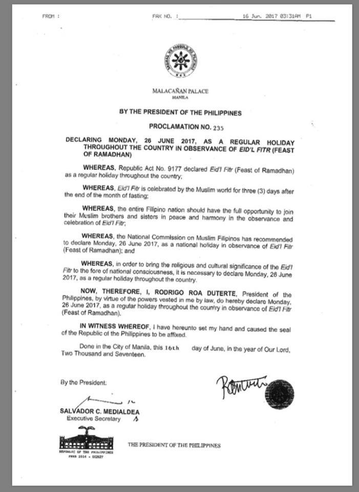Proclamation no 235 declaring monday 26 june 2017 as a regular share to altavistaventures Image collections