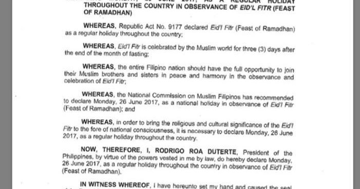 Proclamation no 235 declaring monday 26 june 2017 as a regular 235 declaring monday 26 june 2017 as a regular holiday throughout the country in observance of eidl fitr feast of ramadhan deped tambayan ph altavistaventures Image collections