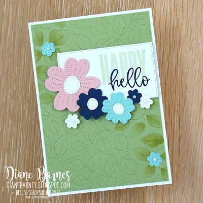 Quick and easy handmade hello card using Stampin Up Pierced Blooms, Stiched Greenery dies, & Biggest Wish stamp set. Card by Di Barnes - Independent Demonstrator in Sydney Australia - 2021-22 Annual Catalogue - colourmehappy -sydneystamper